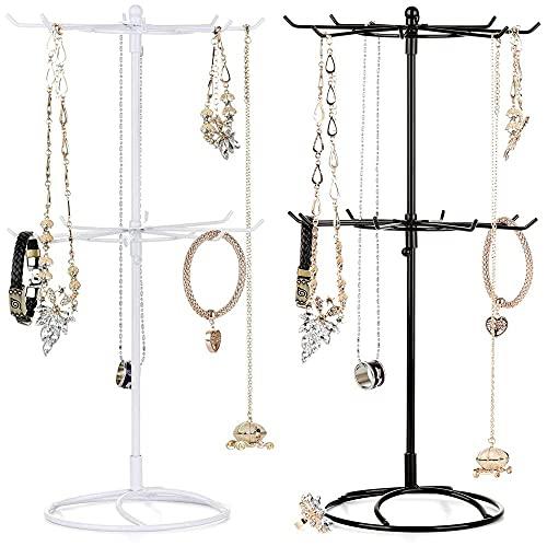 Soporte de joyería, Soporte de joyería de de 2 Niveles: para Colgar Collares, Pulseras, Anillos, Relojes y aretes.