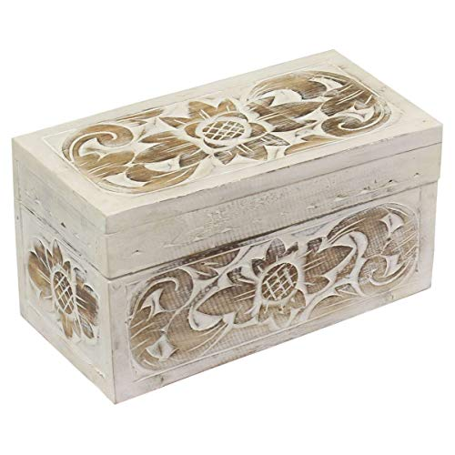 Oriental Galerie Holzkiste Holztruhe Schatztruhe Kiste Box Palmenholz Holzbox Lotus Schnitzereien Shabby Used Look Weiß 30 cm Groß
