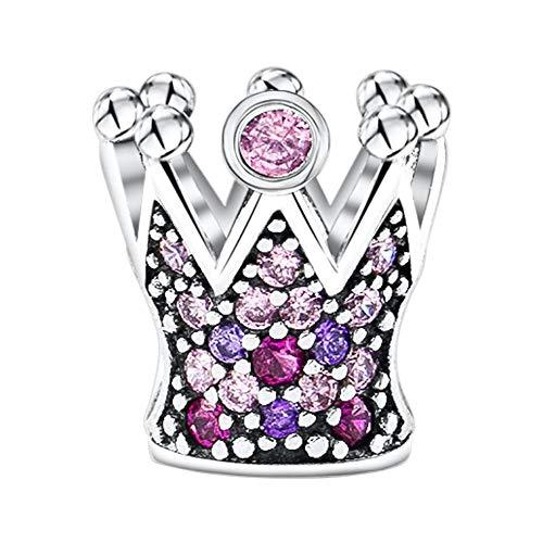 KAAYAH Krone Charm aus 925 Sterling Silber mit rosa, pinken und lila Zirkonia - Damen Anhänger für Ihr Bead Armband