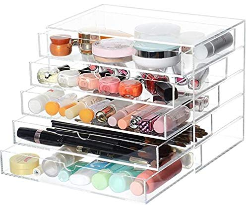APQOO Removable Drawer Extra Large Clear Acrylic Cosmetic Makeup Organizer Cube Display Case Container Cabinet for Cosmetics Beauty Nail Polish Bathroom Storage Office Supplies (5 Drawers)