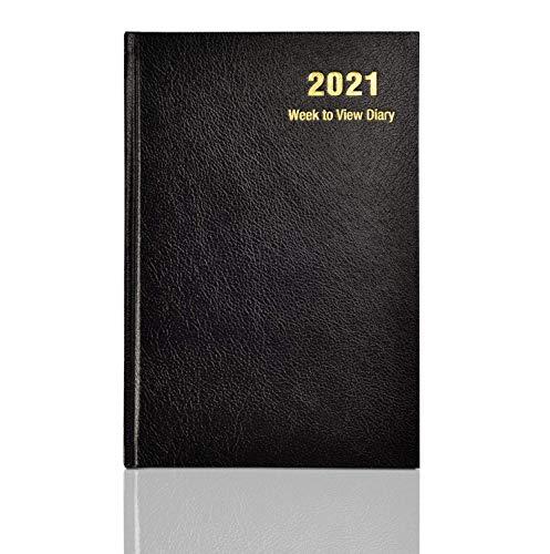 Dagbok 2021 vecka för att se inbunden skydd & bandmarkör | årsplanerare för företag, kontor, hem, möten A5 - Black