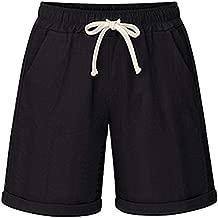 XinDao Women's Casual Summer Cotton Drawstring Elastic Waist Knee Length Bermuda Hiking Athletic Beach Shorts