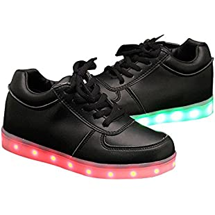 QOUJEILY Adult LED Light Up Trainers Tennis 7 Different Colors Glow Teen Shoe 11 UK Shoe Black