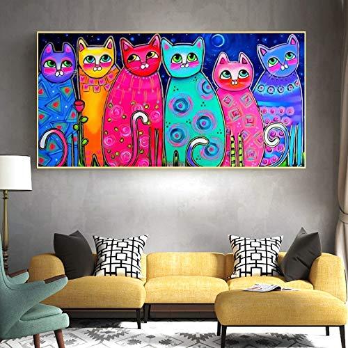 DIY Pintar por números Peinture de Chat coloré Mignon peinture d'art Animal drôle Pintura de Lienzo por números para Adultos con Pincel y Pintura acrílica Pintura para adultos40x60cm(Sin Marco)