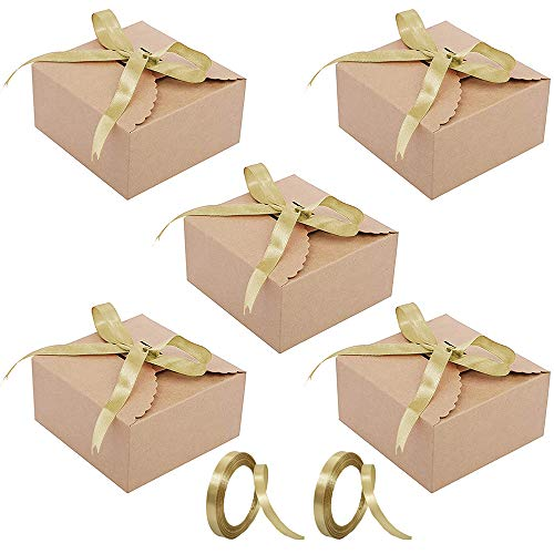 50 Piezas Kraft Papel Cajas Regalo, Kraft Marrón Cajas Regalo Autoensamblables, 2 Rollos con Cinta,para Bodas, Baby Shower, Navidad, Cumpleaños,Joyas, Magdalenas
