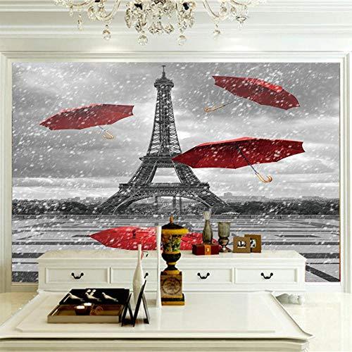 Murales Decorativos Pared 250X175Cm Vista De Sombrillas Rojas De La Torre Eiffel,Mural Papel Pintado Fotomurales Salón Dormitorio Decoración De Paredes Moderna Wallpaper