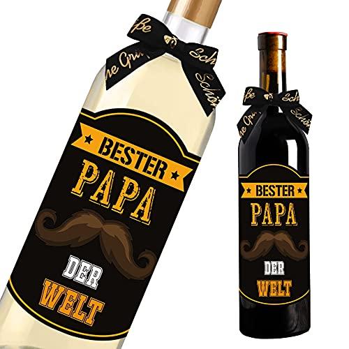 Bester Papa der Welt - Flaschenetikett - 15x11cm - Vatertagsgeschenk - Papa Geschenk - Geschenke für Papa Geschenk Geburtstag Party Gastgeschenke