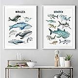 WTYBGDAN Aquarell Wale Leinwand Kunstdruck Hai Poster