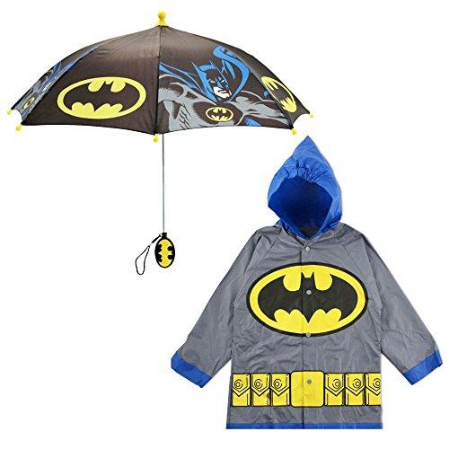 DC Comics Little Boy's Batman Character Slicker and Umbrella Rainwear Set, Gray Batman, Age 6-7