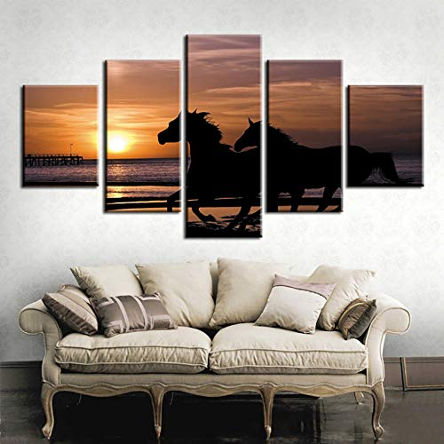 Wjdymx canvas print canvas Hd Print schilderij modulaire 5 panelen paardenrace dier muurkunst poster moderne wooncultuur woonkamer foto's