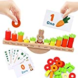 KANKOJO Montessori Math Toys for Kids 3-5, Wooden Balance Game Number Counting Games Stacking Blocks with Flashcards for Toddler STEM Educational Supplies