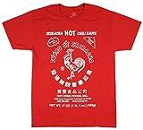 Sriracha Men's Hot Chili Sauce Camiseta roja, 3X-Grande