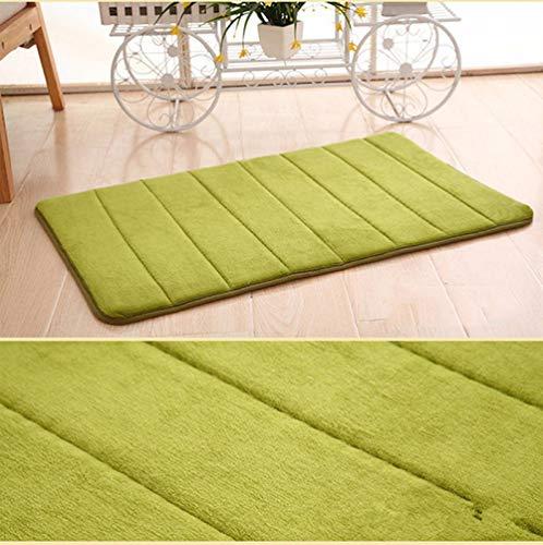 Alfombrilla de baño de espuma viscoelástica suave, alfombras de espuma viscoelástica, alfombrilla de baño con respaldo antideslizante, lana de coral suave, muy absorbente-Ejercito verde_50 × 80 CM