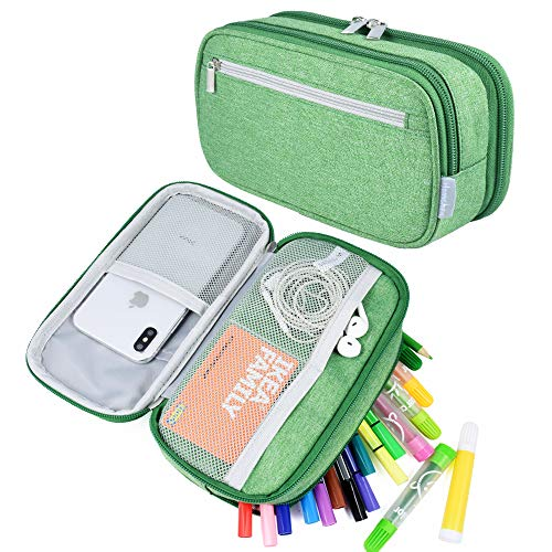 Pencil Case Big Capacity Pen Case Pencil Bag Pouch Pencil Holder Marker Desk Organizer Travel Cable Bag with Multi Compartments for Boys Girls Middle High School Students and Office Supplies, Green
