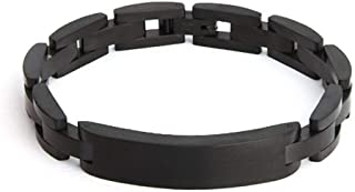 Custom Stainless Steel Black Plated Men's ID Bracelet, 8.5 inches