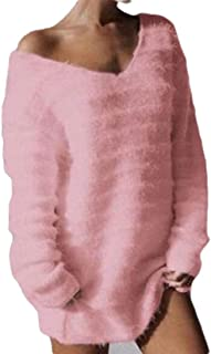 Womens Fashion V Neck Pullover Sexy Solid Color Long Sleeve Shaggy Knitted Loose Sweater