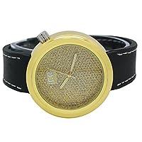 Mens Techno IceマスターフルスターダストIllusionゴールドダイヤルブラックバンド腕時計