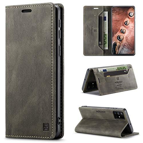uslion Hülle für Samsung Galaxy A51 4G RFID SchutzHandyhülle Kartenfach Geld Slot Ständer Flip Hülle Magnetisch Klapphülle Lederhülle Schutzhülle für Samsung Galaxy A51 4G - Kaffee Braun
