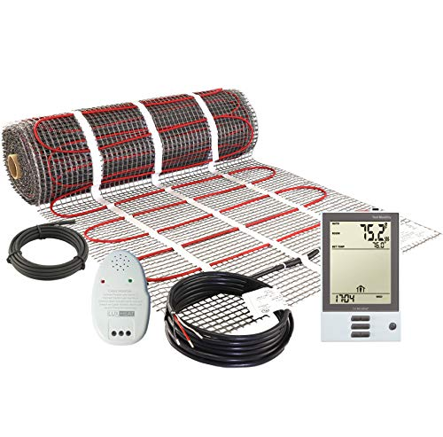 LuxHeat 15 Sqft Mat Kit, 120v Electric Radiant Floor Heating System for Under tile, Stone and Laminate. Kit Includes Alarm, Heated Floor Mat, OJ Microline Programmable Thermostat with GFCI & Sensor