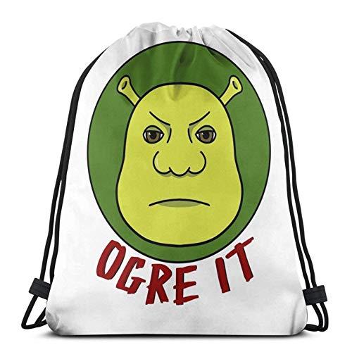 yantaiyu Drawstring Backpack Over It Ogre It Shrek Boy Printed Durable Christmas Sackpack Gym Bag Sack Girl Lightweight Fitness Anime Drawstring Backpack Outdoor Sport Travel