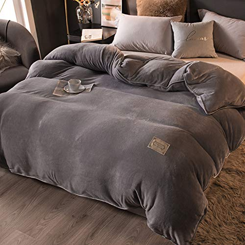 Fashion Bedding Set,Solid Color Quilt Cover,Thick Double-sided Flannel Duvet Cover,Brushed Velvet Quilt Set with Zipper Closure,for Winter