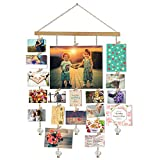 Hanging Photo Display, DIY Picture Photo Frame Collage Set Includes Wood Clips, Natural Wood, Golden Chain with Crystal Pendant 16×29 inch Natural Color