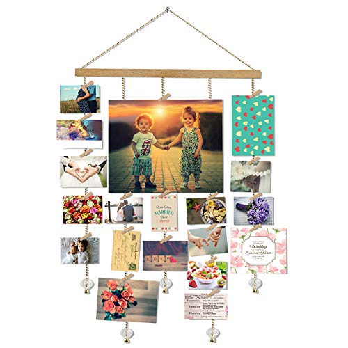 Hanging Photo Display, DIY Picture Photo Frame Collage Set Includes Wood Clips, Natural Wood, Golden Chain with Crystal Pendant 16