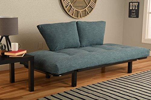 Best Futon Lounger - Mattress ONLY - Sit Lounge Sleep - Small Furniture for College Dorm, Bedroom Studio Apartment Patio Porch (Aqua Linen)