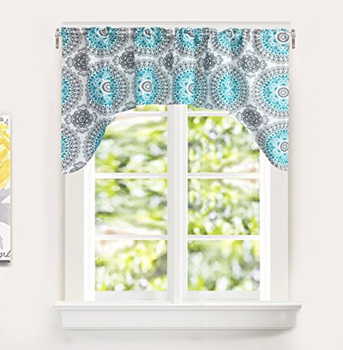 DriftAway Bella Medallion Pattern Room Darkening Rod Pocket Window Curtain Valance 60 Inch by 30 Inch Aqua and Gray
