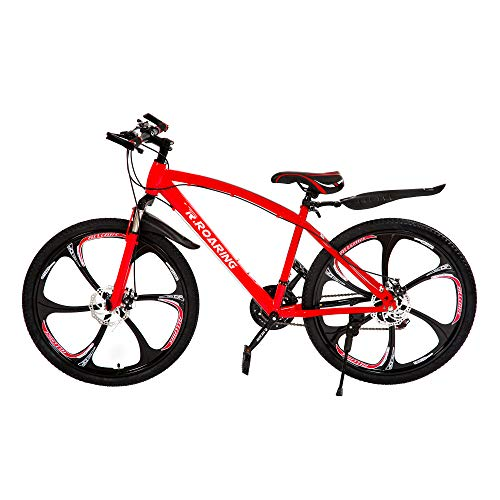 R.ROARING Mountain Bike 21 Speed Double Disc Brake 26-inch Wheels 6 Spoke Bicycle for Adult or Teens, Red