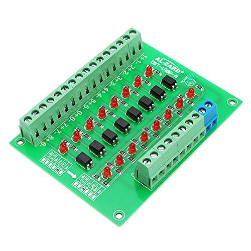 LaDicha 8 Canales 24V A 5V Optoacoplador Módulo De Aislamiento PLC Nivel De Señal De Conversión De Voltaje Npn Salida Dst-1R8P-N