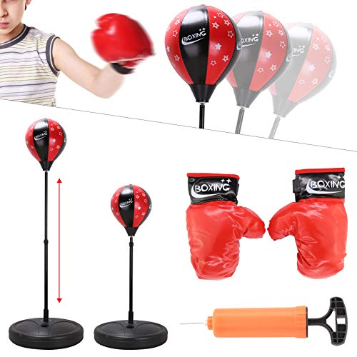 Shoze Kids Children Adjustable Height Free Standing Junior Boxing Punch Ball With Punching Gloves Set