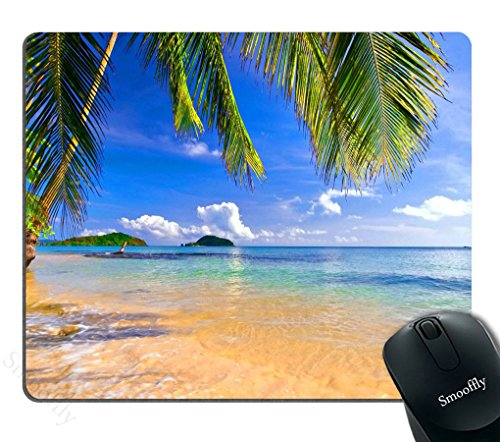Smooffly Gaming Mouse Pad Shore Palms Tropical Beach Mouse Mat Design Natural Eco Rubber Durable Computer Desk Stationery Accessories Mouse Pads for Gift Support Wired Wireless or Bluetooth Mouse