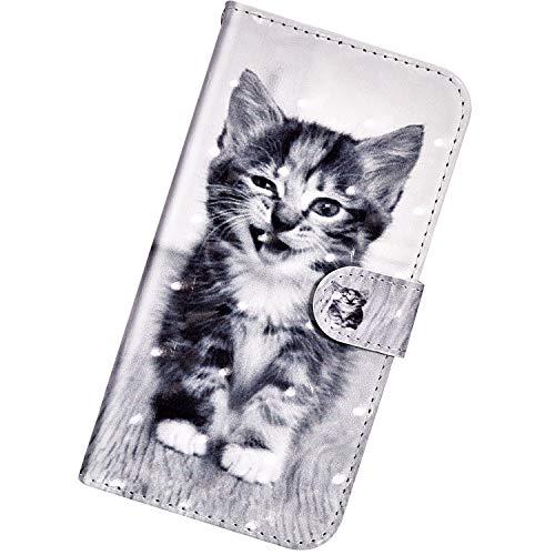 Urhause PU Leder Hülle Kompatibel mit Xiaomi Redmi 4X,3D Gemalt Wallet Flip Schutzhülle mit [Kartenslots][Magnetverschluss] Ständer Funktion mit Lanyard Handyhülle,Smiley-Katze