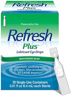 Refresh Plus Lubricant Eye Drops For Dry Eyes, Preservative-Free, 0.01 Fl Oz Single-Use Containers, 30 Count
