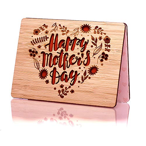 Happy Mothers Day Card; Perfect Wooden Mothers Day Gift for Wife, Mom, Daughter, Grandma or Aunt; Unique Laser Cut Design; Funny Inside Mother Day Card; Tarjeta del día de la madre