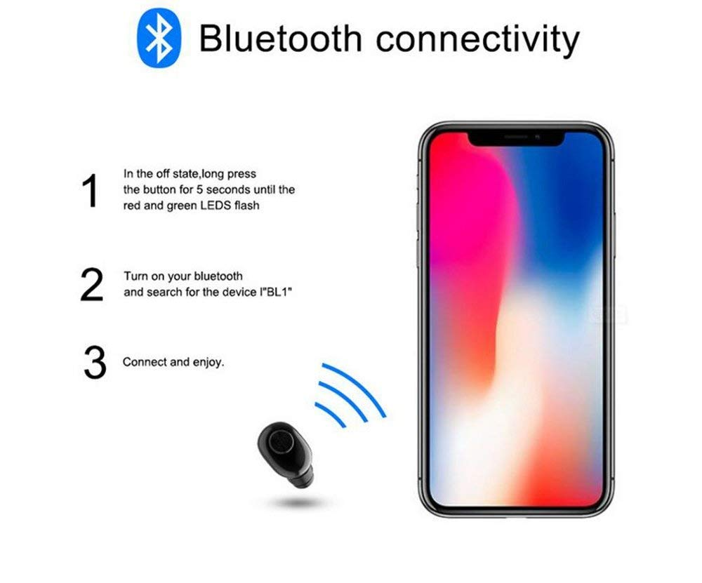 Amazon Com Wireless Earbud Single Piece Echo One Wireless Sport Earbud 8 Hours Talking Time Hd Microphone Bluetooth Headset Built In Mic Power Display On One Piece With Charging Case Black Color Black