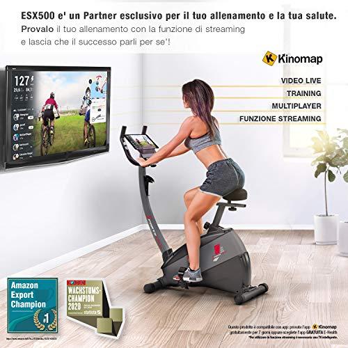 """Ergometro ESX500 Sportstech -Marchio di qualità Tedesco- Eventi Video e Multiplayer App+5,5"""" Display, Volano da 12KG, Compatibile Cintura pulsazioni -Cyclette silenziosa"""