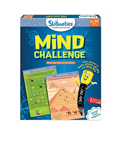 Skillmatics Educational Game: Mind Challenge (6-99 Years), Erasable and Reusable Activity Mats, Travel Toy with Dry Erase Marker, Learning tools for Kids 6, 7, 8, 9 Years...