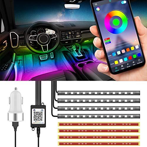 LED Innenbeleuchtung Auto, Clydek Auto LED-Lichtleiste, 48 LED mehrfarbige Fahrzeugatmosphäre Beleuchtung, mit APP-Steuerung & Lichter Tanz mit Musik, Auto Zigarettenanzünder enthalten