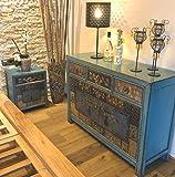 OPIUM OUTLET Chinesische Möbel Kombination Asia Möbel Schlafzimmer Shabby Chic Vintage blau Sideboard Kommode & 2 Nacht-Schränkchen (Oceanflowers-3)