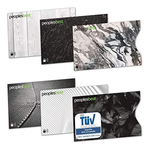 TÜV geprüfte RFID & NFC Blocker Kreditkarten-Schutzhülle (6 Stück) | stabile EC Kartenhülle gegen Datenklau und unerlaubtes auslesen | super dünn & reißfest für 100% Datenschutz (Black & White)