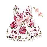 Kobay Mädchen Sommer Süßes Muster Kleinkind Baby Mädchen Fliegenärmel Sonnenblume Blumendruck Prinzessin Kleid + Stirnbänder