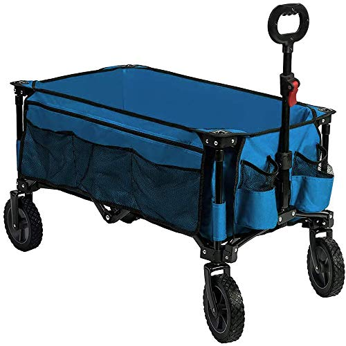 Timber Ridge Camping Wagon Folding Garden Cart Shopping Wagon Heavy Duty Collapsible Cart Utility Wagon with Side Bag and Storage Bag