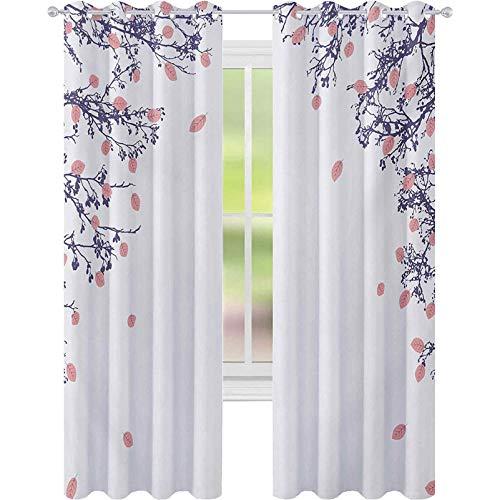 cortinas de dormitorio, Otoño Follaje en las ramas del árbol del crecimiento de la madre naturaleza otoño Zen tema desgin, W52 x L63 sala de estar dormitorio cortinas de ventana, rosa violeta