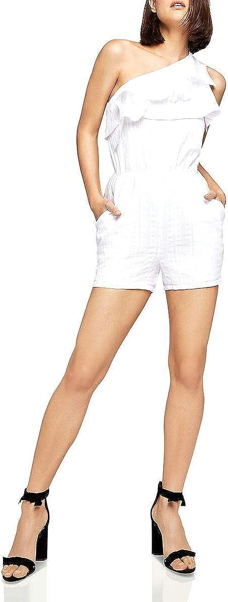 BCBGeneration High quality Women's One New York Mall Romper Shoulder Ruffle