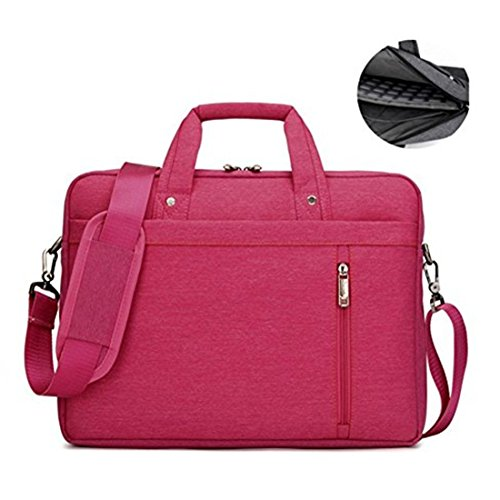 17.3' Waterproof Shockproof Roomy Stylish Laptop Shoulder Messenger Bag Handle Bag Tablet Briefcase For 17 Inch Laptop/Tablet/Macbook/Surface (Rose)