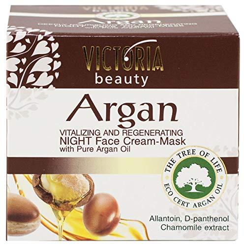 Victoria Beauty – Anti-Falten Nachtmaske mit Arganöl aus Marokko (1 x 50 ml) Gesichtsmaske mit regenerierender und feuchtigkeitsspendender Wirkung – Anti-Aging Maske