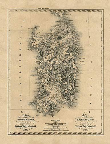 AFDRUKKEN-op-GEROLDE-CANVAS-Oude-Kaart-Sardinië-Island-Middellandse-Zee-Archivio-Europese-Afbeelding-gedruckt-op-canvas-100%-katoen-Opgerolde-canvas-print-Afmeting-90_X_69_cm