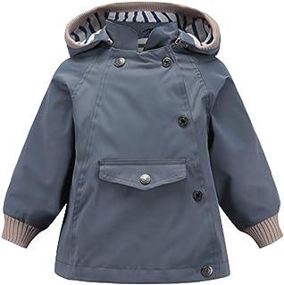 Tronet Baby Winter Warm Coat Toddler Boys Long Sleeve Cartoon Plus Velvet Striped Hooded Windproof Rain Jacket